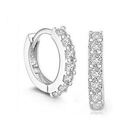 red rhinestone earrings 2019 - Wholesale- Luxury Bijoux Lady's Best Jewelry White Rhinestone Crystal Silver Earrings Gauges Women Fashion Jewelry