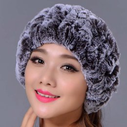 Barato Revestimentos De Peles Reais Por Atacado-Atacado-Rex Rabbit Fur Knitted Headbands pode ser usado como lenço Mulheres Warm Winter Real Fur Caps Ear Warmer Head wrap
