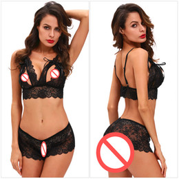 Barato Nova Calcinha Aberta Virilha-Brand New High Quality Black Red Lace Sexy Lingeries Suits Sexy Sexy Lace-up Bra e Open Crotch Panties para Mulheres Erotic Underwear