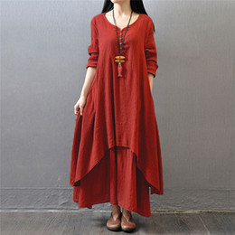 Wholesale Vente en gros Mode Femmes Automne Coton Lin Boho Solid Long Maxi Robe Casual Loose Long Sleeve V Neck Dress Vestidos Plus Size Hot