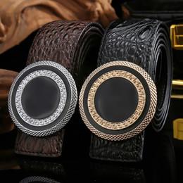 Mens Wide Leather Belt Canada - Fashion belt men male genuine leather strap designer big buckle belts for mens real leather belt man ceinture homme