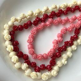 Vente en gros Rouge Rose Blanc Naturel Mer Coral Gemstone Spacer Perles en vrac sur Brin Temporaire Rose Fleur Coral Fit Bijoux DIY