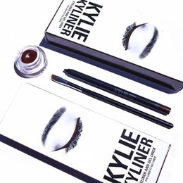 Barato Conjunto De Lábios-Kylie Kyliner Lip Kit Eye Liner Gel Pen Sombra de olho Shush Set 3 Pcs Set Eye Shadow Brush 5Colors Kylie Jenner Kyliner