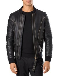Barato Jaqueta De Couro Leve Xl-2017 New Arrival Hot Sale Cheap Top Quality Men's Leather V Jacket Black Outono Winter Light Jacket Online Out Factory Frete Grátis