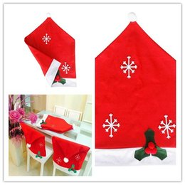 2017Wholesale 1 Pc Christmas Decoration Non Woven Snowflake Chair Covers Dinner Table Decor Red Hat Sets Gift 5065cm