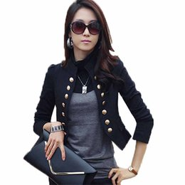 Chinese  Spring Summer Autumn Women Short Little Jacket Double Breasted Outerwear Ladies Long Sleeve Slim Fitted Casual Cardigan manufacturers