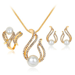 Pearl Bridal Jewellery Australia - Wedding Jewelry Sets Necklace Earrings and Ring Crystal pearl Bridal Jewelry Sets Jewellery maxi statement long necklace statement jewelry