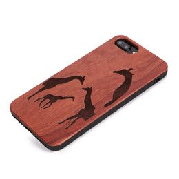wooden animal patterns Australia - U&I®Engraving Animal Pattern Design Wooden Phone Case Protector for IPhone 6 7plus Full Protection TPU Bumper Protector Phone Case 4.7 inch