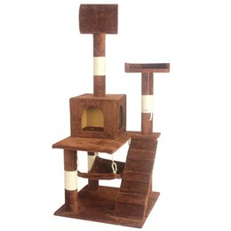 "Chinese  Brown 55"" Cat Tree Tower Condo Scratcher Furniture Kitten House Hammock manufacturers"