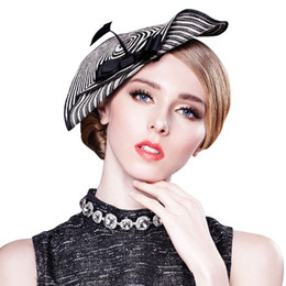 Chapeaux De Mariage À La Mode Pas Cher-Trendy Cupid Zebra Womens Church Dress Tilt Fascinator Chapeau de paille Tea Party Wedding Stage Show A003