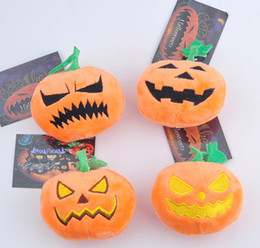 Discount wholesale tv cell phones - 9cm Halloween Pumpkin Plush Toys Soft Stuffed Doll Keychain Pendant Cell Phone Bag Key Rings With Sucker Gifts HH-T40