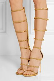 Discount Gold Knee High Gladiator Heels | 2017 Gold Knee High ...