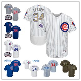 4ee13fbba52 ... 2017 Best Mens Chicago Cubs 34 Jon Lester Jersey Home White Road Bule  Grey Flex Base 2016 World Series ...