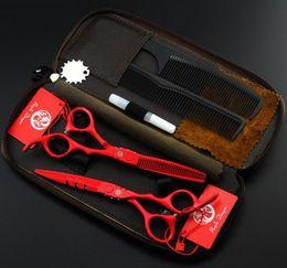 $enCountryForm.capitalKeyWord Canada - hot sale purple dragon 5.5 6 inch red paint Hairdressing scissors set Flat shear Teeth scissors thinning cutting scissors Hair Styling Tools