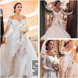 $enCountryForm.capitalKeyWord NZ - Luxury Lace Zuhair Murad Wedding Dress Off Shoulder Long Sleeves Vintage Appliques Dubai Arabia Court Train Royal Bridal Gowns