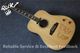 China Wholesale-All Real Pictures John Lennon Signature J160E Aoustic Guitar Top Drawing Chinese Acoustic Guitars In Stock cheap maple acoustic guitar suppliers