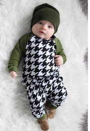 Pantalones A Cuadros Verdes Baratos-Niños Houndstooth Romper Girls Pantalones Niños Ropa Plaid One Piece Ropa 2017 Deep Green Jumpsuit Rompers Baby One Piece Romper