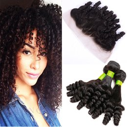 Discount romance curls human hair weave - Bouncy Romance Curls Lace Frontal Closure With Bundles Raw Virgin Indian Aunty Funmi Human Hair Weaves And Full Frontals