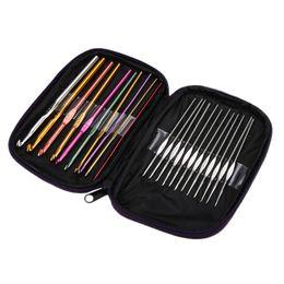 $enCountryForm.capitalKeyWord NZ - 22Pcs Multi-colour Aluminum Crochet Hooks Knit Weave Needle Kits Embroidery Needlework Craft Sewing Tools Knitting Needles