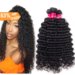 Discount 18 inch curly hair indian - 7A Mongolian virgin human hair deep wave hair bundles natural black color wholesale cheap price deep wave curly 3bundles