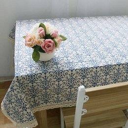 Retro Blue And White Table Cloth With Lace Cotton Print Chinese Style  Rectangular Dinning Tablecloths Cover Home Decor YN19