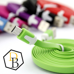 $enCountryForm.capitalKeyWord Canada - Flat Noodle cable Micro USB Cable Charging Data Line 1M 2M 3M Colorful USB Cable For Samsung Galaxy S6 Wire