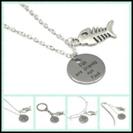 Friend charm bracelets online shopping - 12pcs Fish are friends not food necklace bracelet keyring bookmark fish bone charm necklace