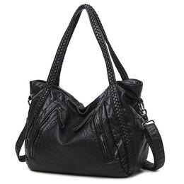 Patchwork Plaid Handbags Canada - 2018 Large Soft Leather Bag Women Handbags Ladies Crossbody Bags For Women Shoulder Bags Female Big Tote Sac A Main Famous