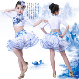 white salsa dresses Canada - New children cheongsam Latin dancing dress girls blue and white porcelain printing samba tango salsa lamba ballroom performance competition