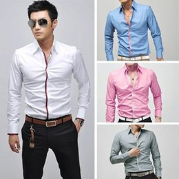 Barato Tees Coreano Atacado-Atacado-Moda Masculina Coreano Casual Slim Fit Long Sleeve Tee Top Business Camisa