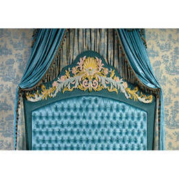 $enCountryForm.capitalKeyWord Canada - 7x5ft Baroque Tufted Headboard Bed Photo Background Blue Curtain Indoor Room Wallpaper Studio Booth Props Wedding Backdrop Photography