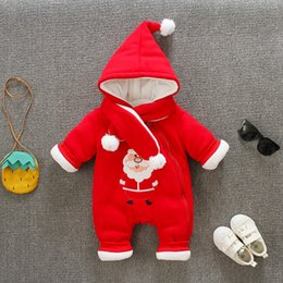 Barato Macacões De Lã De Bebê-Cute Fleece Long Sleeve Coverall Hooded Natal Santa Romper Jumpsuit One Piece Toodler Infant Baby Girl Boy Bloomers Playsuit
