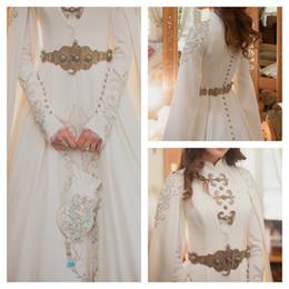 Wholesale Vintage Hijab Bride Muslim Wedding Dresses Modest Long Sleeve High Neck Luxury Gold Detail Crystal Kaftan Dubai Arabic Wedding Gown