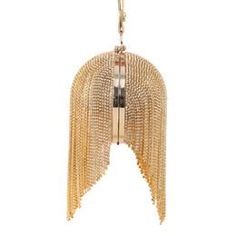 Popular Brand Purses Canada - Wholesale- Popular Women Round Crystal Tassel Evening Hand Bag Famous Brands Luxury Gold Diamond Circular Dinner Mini Party Purse XA782H