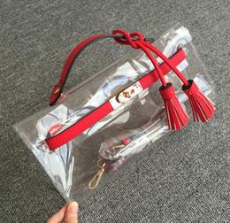 Discount clutch bags white gold color - Wholesale-High quality cute plastic bags transparent clear clutch candy color handbag purse women small PVC combined lea