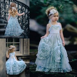 Robes De Demoiselle D'honneur Orange Pas Cher-Sweety Bleu Longueur étage Robes Filles Fleur Halter sans manches Lovely Lace Enfants Robe de demoiselle d'honneur Enfants Prom Party Gown Custom Made