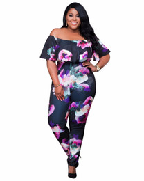 plus size fashion jumpsuits rompers NZ - Wholesale- 2016 Fashion off shoulder print Plus Size rompers womens jumpsuit Outfits sexy bodycon jumpsuit combinaison femme top quality