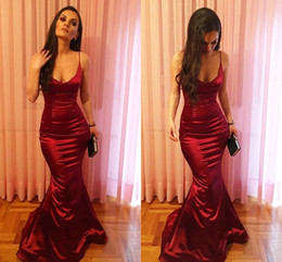 plus size prom dresses ship fast 2019 - Sexy Dark Red Mermaid Evening Dresses Spaghetti Straps Satin Floor Length Backless Prom Dresses Long Evening Gowns Fast