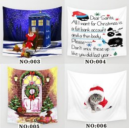 Discount snowman towel - 2017 New Christmas Decorations Santa Snowman Wall Hanging Tapestry Yoga Mat Wall Cloth Beach Towel Living Room Home Deco