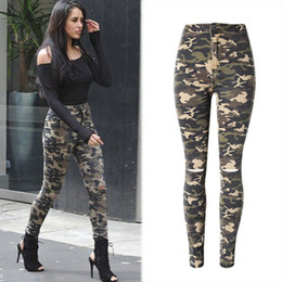 Barato Alto Cintura Jeans Mulheres-New Fashion Skinny Ripped Jeans Mulheres High Waisted Camouflage Jeans Stretch Pencil Jean Slim Femme Denim Camo Pants