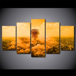 $enCountryForm.capitalKeyWord Canada - 5 Pcs Framed HD Printed Explo Death Of Mushroom Cloud Canvas Painting Wall Art Prints Home Decor For Linving Framed Art Picture