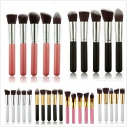 Barato Ferramentas Para Beleza Facial-Professional Powder Blush Brush Facial Care Facial Beauty Cosmetic Stipple Foundation Brush Maquiagem Tool 5pcs / set em estoque