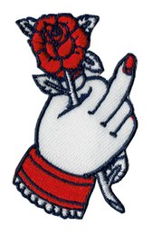 Chinese  New Arrival Flower Rose In Hands Elizabeth Embroidered Iron On   Sew On Shirts Patch Clothing Fabric Badges Sewing Patch Emblem Free Ship manufacturers