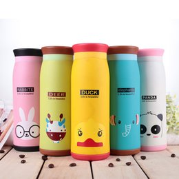 Wholesale Water Bottles For Kids Canada - Water bottles for kids stainless steel insulated Cute Cartoon Animal Vacuum Water Bottles 17oz 12oz 9oz
