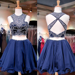 Barato Azul Chiffon Curto Vestidos De Baile-Sparkle Royal Blue Short Homecoming Vestidos O Neck Crystal Beaded Chiffon Backless Two Piece Prom Dresses Keyhole Back Short Party Dresses