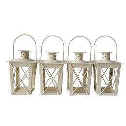 white metal lanterns wholesale 2019 - Cheap classic style Tea Light Holder Metal candle holder Small Iron lantern White Color candlestick holders gift Wedding