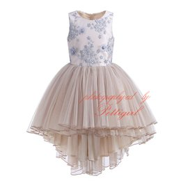 Girls embroider dress online shopping - Pettigirl Summer Girl Prom Dress Elegant Floral Embroidery Sleeveless High Waist Layered Tulle Champagne Asymmetrical Dresses G DMGD908