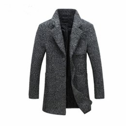 Barato Casacos Homens Xl-New Fashion Long Trench Coat Homens Inverno Casaco para homem 40% Wool Thick Trench Coat Casaco masculino Frete grátis