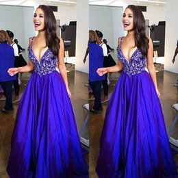 Deep V Formal Pas Cher-Sexy Robes de bal Deep V Neck Sans manches Beading Appliques Top Backless Long Formal Blue Evening Party Robes Sweep Train
