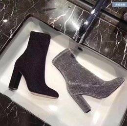 blue suede booties women UK - 2017 glitter women ankle boots square heel botas point toe sequin booties shinny fabric booties dress shoes party shoes sliver color booties